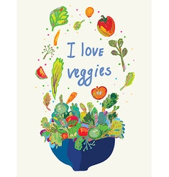 Vegetables card - vegetarian menu vector
