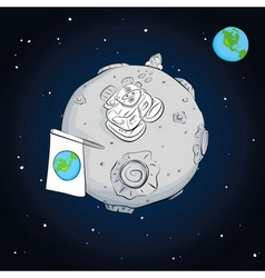 Astronaut whith flag on the moon vector