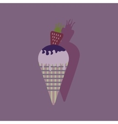 Flat with shadow icon ice cream strawberries vector