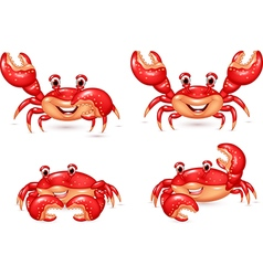 Cartoon happy crab collection set vector