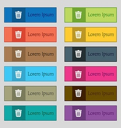 Bin icon sign set of twelve rectangular colorful vector