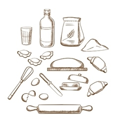 Process of kneading dough in sketch style vector