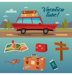 Family vacation time active summer holidays by car vector