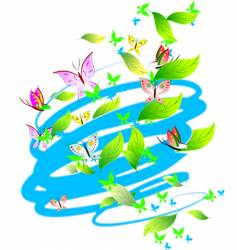 Pastel colors butterflies leaves scrolls vector
