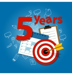 Five years target plan in business and life vector
