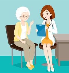 Doctor ask elderly patient about her symptoms vector