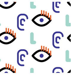 Abstract faces hipster seamless pattern vector