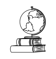 Book school with planet earth isolated icon vector
