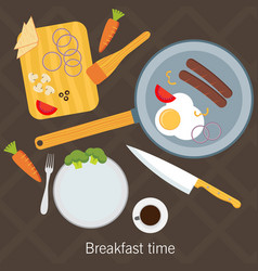 Breakfast time fried eggs making process vector