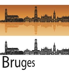 Bruges skyline in orange background vector