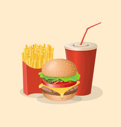 burger french fries and soda cup - cute cartoon vector image vector image