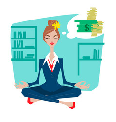Business woman in a lotus position meditating vector