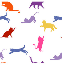 cats seamless baby background with colour cats vector image vector image