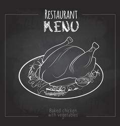 Chalk drawing menu design baked chicken vector