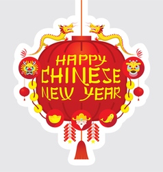Chinese new year red lantern decoration label vector