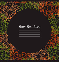 circular frame with colorful mandala on a dark vector image vector image
