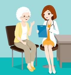 Doctor Ask Elderly Patient About Her Symptoms vector image vector image