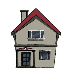 Drawing american house domestic chimney vector