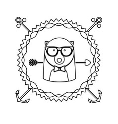 emblem bear hipster hunter city icon vector image