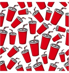 Fast food soda paper cups seamless pattern vector
