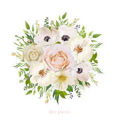 Flower round wreath bouquet of garden pink peach vector