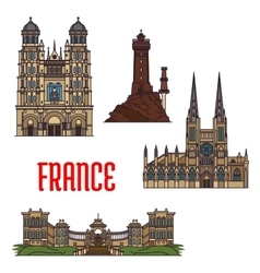 French travel landmarks icon thin line style vector image