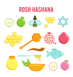 Jewish new year rosh hashanah flat icons set vector