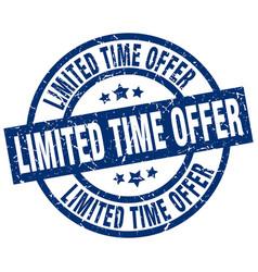 limited time offer blue round grunge stamp vector image vector image