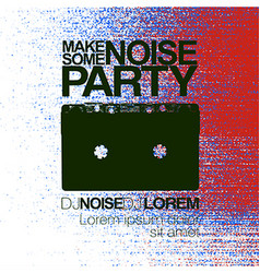 Make some noise night party flyer red and blue no vector
