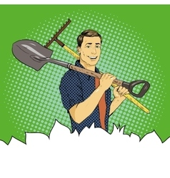 Man with garden tools in vector