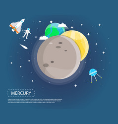 Mercury venus and earth of solar system design vector