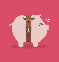 Piggy bank with a tight belt vector
