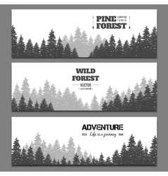 Pine forest horizontal banner set vector