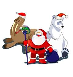 santa and animals vector image vector image