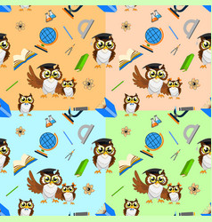 School seamless pattern with funny owls vector