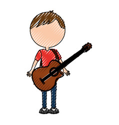 scribble faceless guitar man cartoon vector image vector image