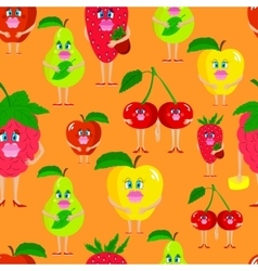 Seamless cute lady fruits vector image vector image