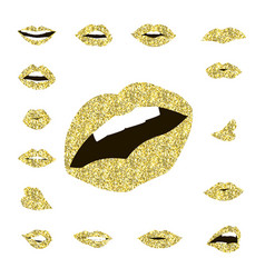 Set gold lips girl silhouette vector