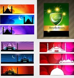 set of attractive banner of ramadan festival vector image vector image