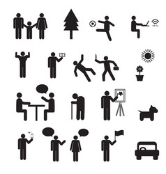 Sign of people life setfamily group work human vector
