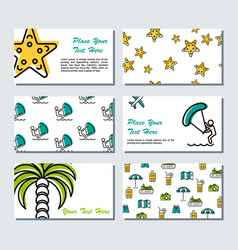 Six card template - summer time vector