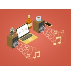 Sound wave from the two speakers note icons and vector image vector image