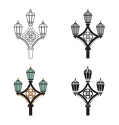 Street light icon in cartoon style isolated on vector