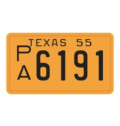 Texas 1955 license plate vector