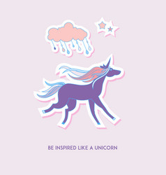 unicorn set stickers with unicorn cloud and stars vector image vector image
