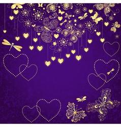 Violet grunge valentine frame vector
