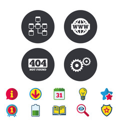 Website database icon internet globe and repair vector