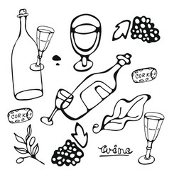 Wine collection hand drawn set of graphic vector