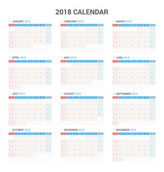 Yearly wall calendar planner template for 2018 vector
