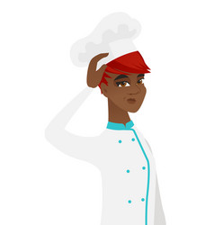 Young african-american chef scratching her head vector